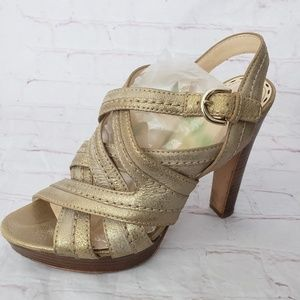 Coach Gold Foiled Brynne sling back  sandals 8.5